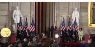 Israels president Shimon Peres taler til den amerikanske Kongressen 26. juni 2014.