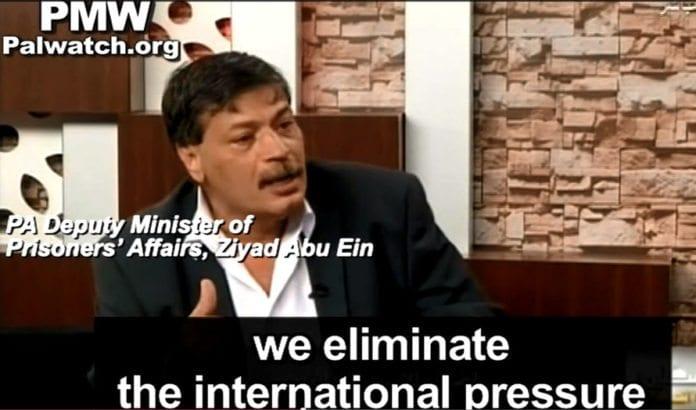 Ziyad Abu Ein fra det palestinske departementet for oppfølging av fanger forklarer planen om å unnslippe internasjonalt press ved å forlede giverlandene. (Foto: Skjermdump fra PMW / Youtube.)