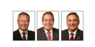 De nye er representantene er fra venstre Kåre Simensen (Finnmark) og Sverre Myrli (Akershus) fra Arbeiderpartiet og Helge Thorheim (Rogaland) fra Fremskrittspartiet. (Foto: Stortinget)