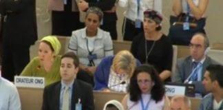 Rachel Frankel i FNs Menneskerettighetsråd 24. juni 2014. (Skjermdump fra FNs streaming)