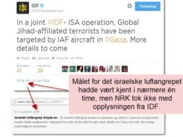 Skjermdump fra IDFs Twitter-melding og NRKs nyhetsmelding som kom 51 minutter senere.