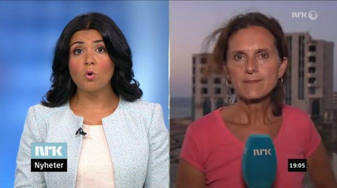Sidsel Wold (t.h.) blir intervjuet direkte fra Gaza-stripen på Dagsrevyen fredag 11. juli. (Skjermdump fra NRK)