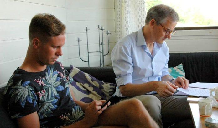 Eskil Pedersen og Jonas Gahr Støre sammen på AUFs sommerleir i juli 2014. (Foto: Arbeiderpartiet)