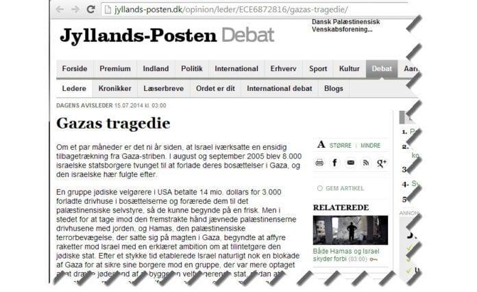 Skjermdump fra jyllands-posten.dk.