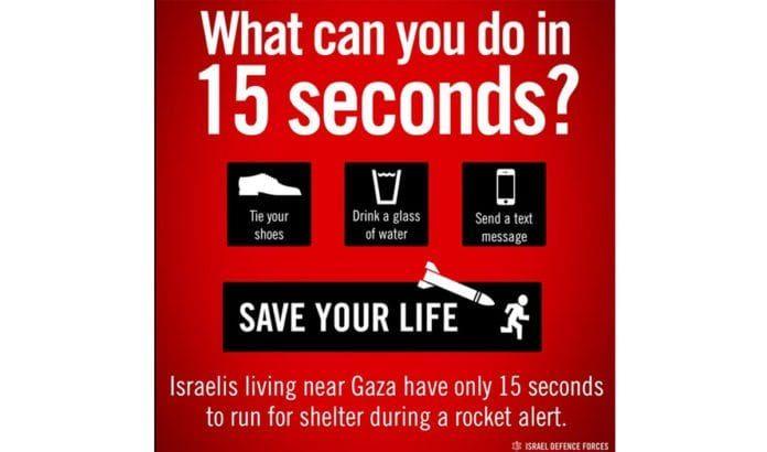 15 sekunder er anbefalt tid å bruke på å komme seg i sikkerhet når rakettalarmen går. (Illustrasjonsplakat: IDF / Twitter)