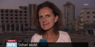 Sidsel Wold rapporterer direkte fra Gaza-stripen på NRK Dagsrevyen 10. juli 2014. (Skjermdump fra tv.nrk.no)