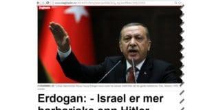 Var det bevisst da Dagbladet.no valgte illustrasjonsbilde til Erdogans sterke anklager mot Israel? Her er den tyrkiske statsministeren selv tilsynelatende midt i en Hitlerhilsen. (Skjermdump fra Dagbladet.no)