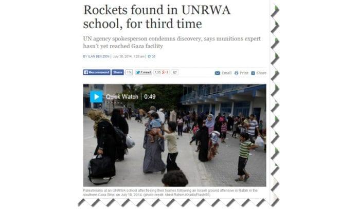 Skjermdump fra Times of Israel 30. juli 2014.