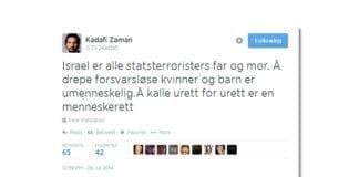 Skjermump av Kadafi Zamans Twitter-melding 29. juli 2014.