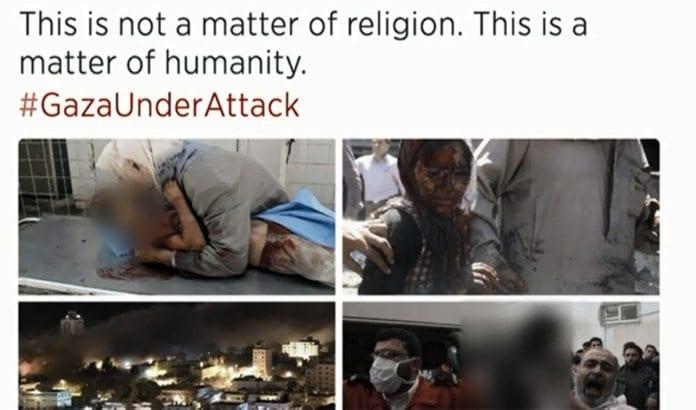 Dette er et eksempel på de falske Gaza-rapportene som florerer i sosiale medier. Bildene du ser utgis for å være fra Gaza, men er i virkeligheten fra Aleppo i Syria. (Foto: Skjermdump fra BBC)