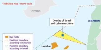Kartillustrasjonen viser hvor de omstridte havområdene mellom Israel og Libanon befinner seg, og hvor de israelske gassfunnene befinner seg. (Illustrasjon: Interfax Global Energy Services)
