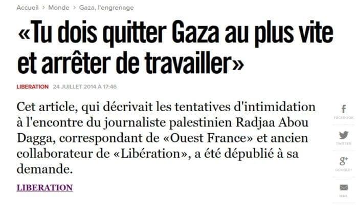 Den franske dagsavisen Liberation forteller om sin journalists opplevelser på Shifa-sykehuset i Gaza. (Foto: Skjermdump fra Liberations nettavis)