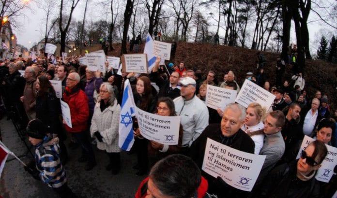 Fra MIFFs støttemarkering for Israel i Oslo i november 2012. (Foto: MIFF)