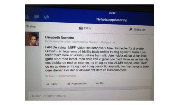 Elisabeth Norheims trussel mot Israel-venner. (Skjermdump fra Facebook)