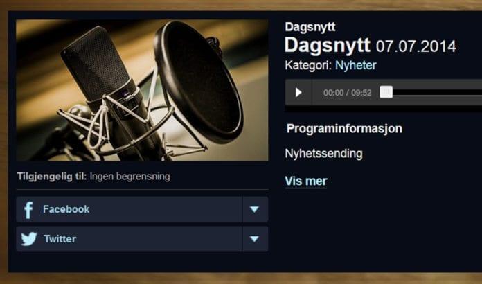 NRK fortiet rakettangrepene mot Israel på morgennyhetene i dag. (Foto: Skjermdump fra NRKs webradio)