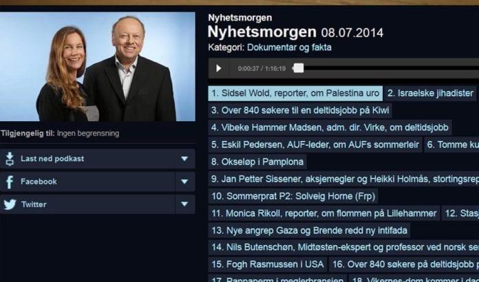 Sidsel Wold feilinformerte lytterne og ga legitimitet til terrorangrepene da hun rapporterte i Nyhetsmorgen på NRK P2 tirsdag 8. juli. (Foto: Skjermdump fra NRKs web-tv)