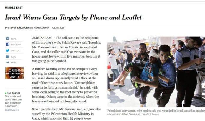 New York Times har intervjuet et vitne til gårsdagens israelske luftangrep mot et hus, der syv angivelig ble drept. (Foto: Skjermdump fra Nytimes.com)