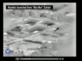 Videoen viser at tre raketter avfyres fra innsiden av en skole i Gaza. (Foto: Skjermdump fra YouTube)
