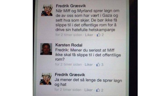 Dette skrev TV2s reporter Fredrik Græsvik tirsdag kveld på Facebook. (Foto: Skjermdump fra Facebook)