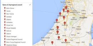 Disse byene i Israel ble rammet av rakettangrep fra Gaza mandag. (Foto: Skjermdump av kartsøk utført av Ha'aretz i Google Maps)
