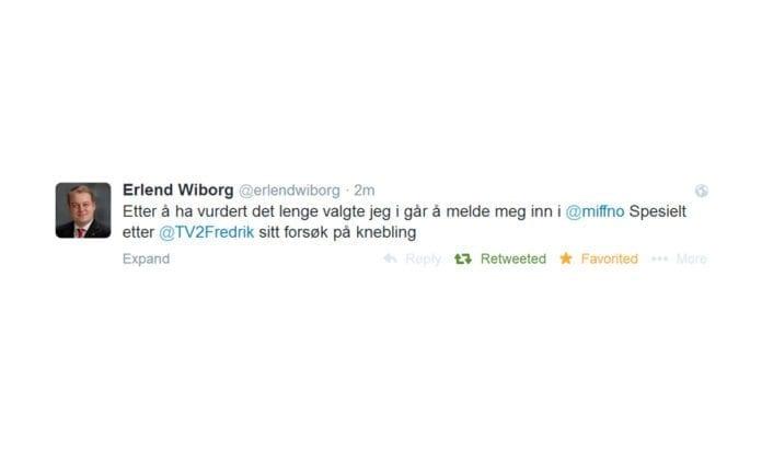 Stortingsrepresentant Erlend Wiborg meldte seg 28. juli inn i MIFF, og annonserte sin innmelding på Twitter. Nå har han begrunnet innmeldingen mer grundig i et blogginnlegg.