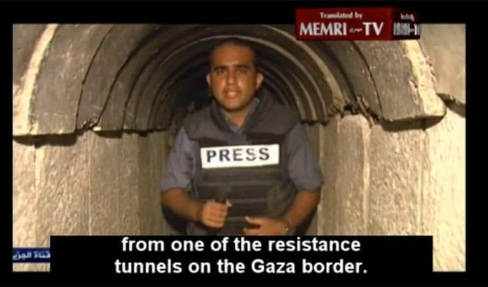 Al Jazeera hevder å rapportere fra innsiden av en fortsatt operativ terrortunnel. (Foto: Skjermdump fra Memritv.org)