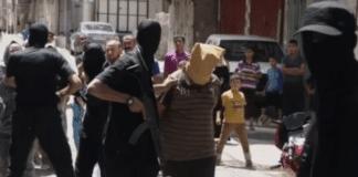 En av Hamas sine offentlige henrettelser. (Skjermdump fra YouTube)