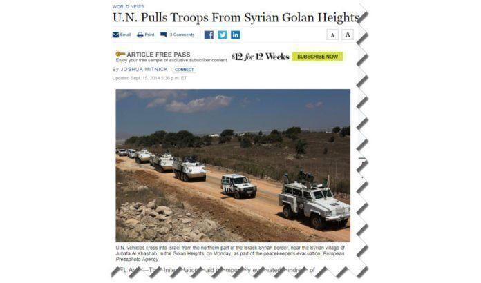 FN-styrker rømmer fra krigsherjede Syria til trygghet i Israel. (Skjermdump fra Wall Street Journal)