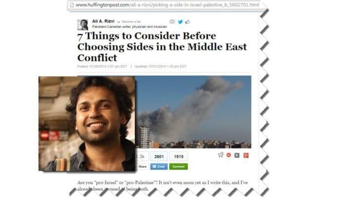 Skjermdump fra artikkelen i Huffington Post og portrett fra Ali A. Rizvis Twitter-profil.