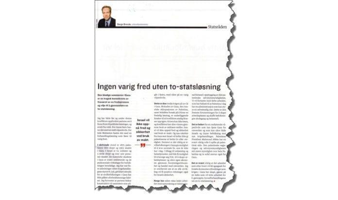 Faksmile av Børge Brendes artikkel i LO-Aktuelt nr. 12-2014. Redaksjonen for utgaven ble avsluttet 12. august.