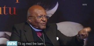 Erkebiskop Desmond Tutu lyver om Israels krigføring på NRK Dagsrevyen 22. september 2014. (Skjermdump fra NRK)