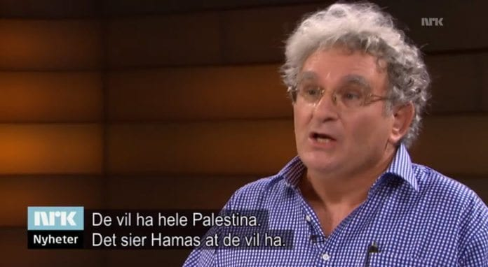 NRK Urix hadde professor Benny Morris i studio torsdag 25. september 2014. (Skjermdump fra NRK)