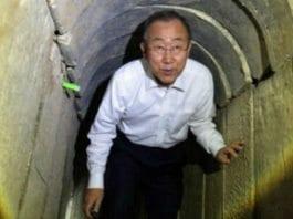 FNs generalsekretær Ban Ki-moon inne i en av Hamas' terrortunneler under et besøk i Gaza i oktober 2014. (Foto: Skjermdump fra web-tv hos Times of Israel / GPO)