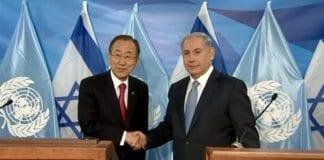 FNs generalsekretær Ban Ki-moon og Israels statsminister Benjamin Netanyahu møttes mandag 13. oktober. (Foto: Skjermdump fra YouTube)