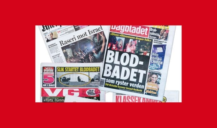 Fra forsidene til norske aviser 1. juni 2010, etter at voldelige islamister hadde møtt israelske spesialsoldater med vold ombord på skipet Mavi Marmara. Islamistene forsøkte å bryte den lovlige israelske sjøblokaden av Hamas-regimet på Gaza-stripen.