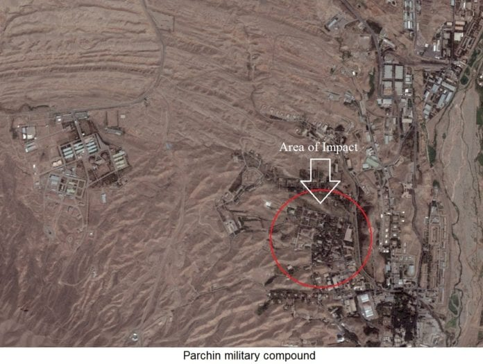 Satellittfoto av den lukkede iranske militærbasen Parchin, med området som ble rammet av eksplosjon søndag innringet i rødt. (Foto: IDF)