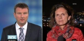 Programleder Jon Gelius og reporter Sidsel Wold i NRK Dagsrevyen 18. november 2014. (Skjermdump fra NRK)