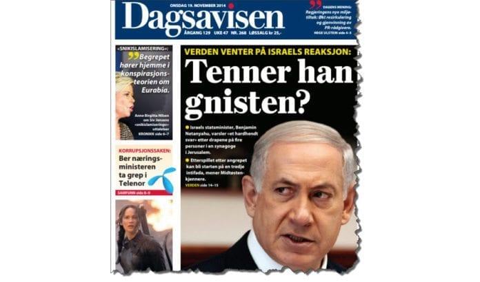 Faksmile av forsiden til Dagsavisen 19. november 2014.