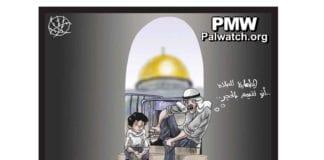 """Denne tegningen ble trykket i Al-Hayat Al-Jadida 2. november 2014. """"Du renser deg før bønnen ved hjelp av steiner,"""" sier den eldre mannen til gutten."""