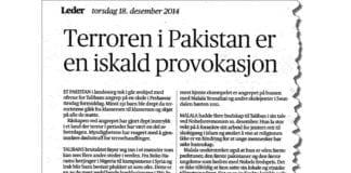Faksmile av Aftenpostens lederartikkel 18. desember 2014.