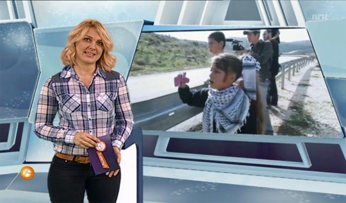 Supernytts seere tirsdag 2. desember fikk høre at israelere kjører over og skyter på palestinske barn på Vestbredden. (Foto: Skjermdump fra NRK)