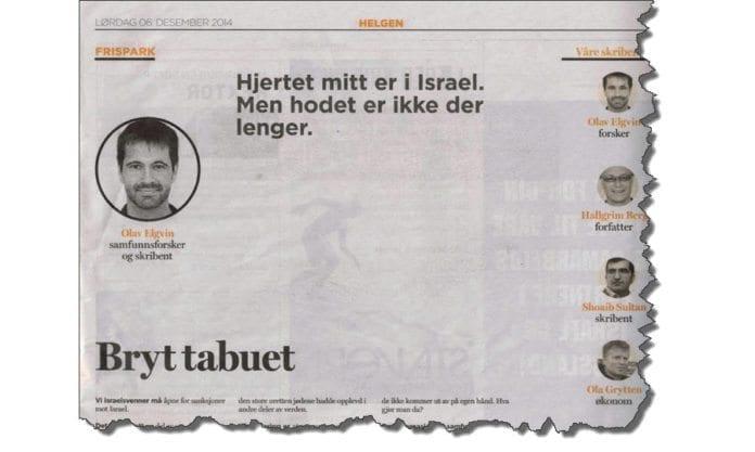 Faksmile av Olav Elgvins artikkel i Dagen 6. desember 2014.