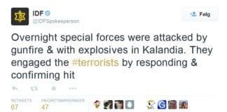 IDF meldte på Twitter om skyting og bombekasting to timer før NRK utelot informasjonen. (Foto: Skjermdump fra Twitter)