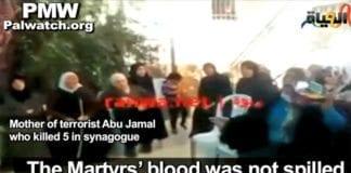 Moren til en av de to synagogeterroristene lovpriser drapsmennene som martyrer. (Foto: Skjermdump fra PMW / YouTube)