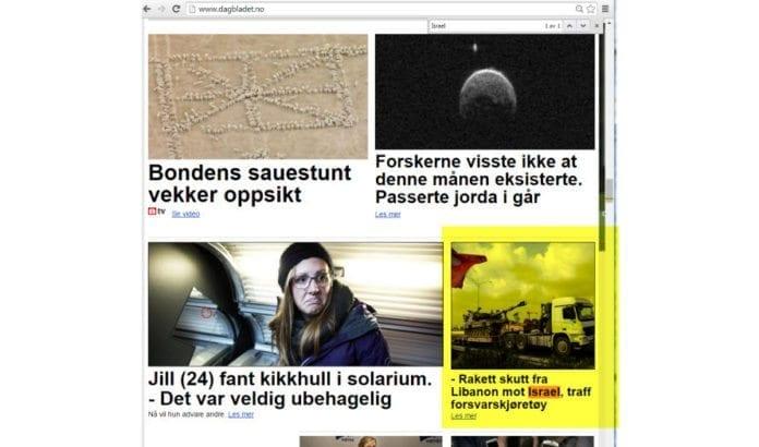 Langt nede på forsiden til Dagbladet.no blir angrepet mot Israel omtalt. (Skjermdump fra Dagbladet.no kl. 12.55 onsdag 28. januar 2015.)