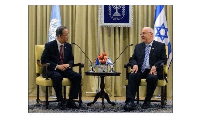 Israels president Reuven Rivlin i møte med FNs generalsekretær Ban Ki-Moon. Bildet er fra et møte i Israel i oktober 2014. (Foto: GPO)