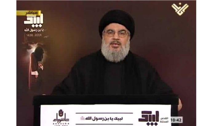 Hizbollah-leder Hassan Nasrallah truer Israel på libanesisk tv. (Foto: Almanar via jpost.com)