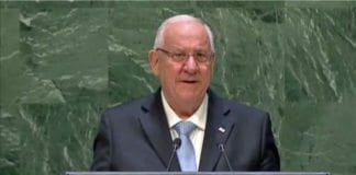 Israels president Reuven Rivlin på talerstolen i FNs generalforsamling i New York onsdag 28. januar. (Foto: Skjermdump fra FNs web-tv)