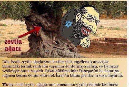 Fra et flygeblad distribuert av tyrkiske islamister, hvor det blir hevdet at Israel planter oliventrær for å beskytte jøder på Dommens dag. (Faksmile via Memri)