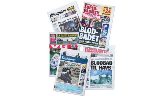 Da radikale islamister forsøkte å bryte sjøblokaden av Gaza-stripen 31. mai 2010, ble de stanset av israelske spesialsoldater. De norske storavisene ryddet forsidene og rettet bloddryppende anklager mot Israel. (Faksmiler)